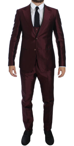 Bordeaux Silk Wool 4 Piece Slim Fit Suit
