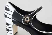 Load image into Gallery viewer, Black Leather Mary Janes Crystals Pumps