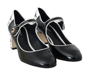 Black Leather Mary Janes Crystals Pumps