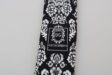 Load image into Gallery viewer, Black Silk White Floral Pattern Classic Tie