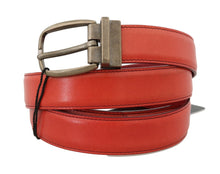 Load image into Gallery viewer, Red Leather Gold Buckle Belt
