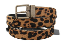 Load image into Gallery viewer, Brown Leopard Leather Calf Fur Belt