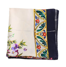 Load image into Gallery viewer, Blue Floral Print Silk Scarf