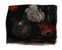 Load image into Gallery viewer, Multicolor Roses Print Silk Scarf