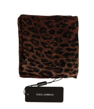 Load image into Gallery viewer, Brown Leopard Print Silk Scarf