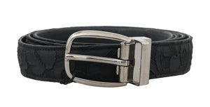 Black Lace Leather SIlver Buckle Belt