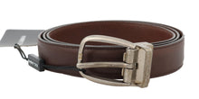 Load image into Gallery viewer, Brown Leather Gray Oval Buckle Belt