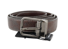 Load image into Gallery viewer, Brown Vintage Leather Silver Buckle Belt