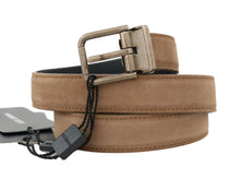 Load image into Gallery viewer, Brown Leather Gold Brushed Buckle Belt