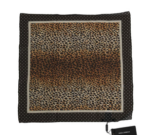 Brown Leopard Print Cotton Square Scarf
