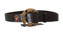 Load image into Gallery viewer, Brown Leather Gold Buckle Horseshoe Belt