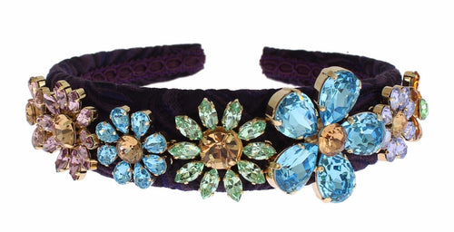 Purple Blue Brocade Gold Crystal Floral Headband Hair Diadem