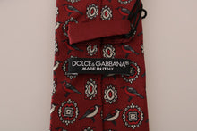 Load image into Gallery viewer, Bordeaux Silk Gray Bird Print Tie