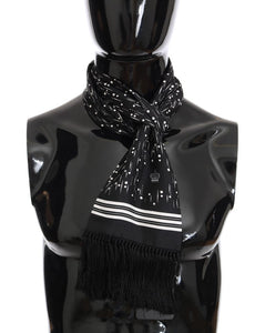 Black White Silk Scarf