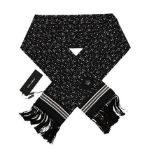 Load image into Gallery viewer, Black White Silk Scarf