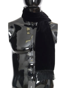 Black Velvet Fringes Scarf