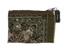 "Load image into Gallery viewer, Green Cashmere ""Teatro die Pupi"" Print Scarf"