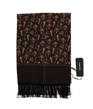 Load image into Gallery viewer, Brown Silk Music Print Scarf