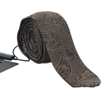 Load image into Gallery viewer, Brown Floral Paisley Skinny Tie