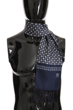 Load image into Gallery viewer, Blue Silk Dotted Print Scarf