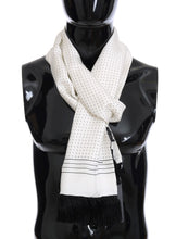 Load image into Gallery viewer, White Silk Polka Dot Scarf