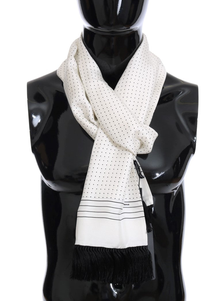 White Silk Polka Dot Scarf