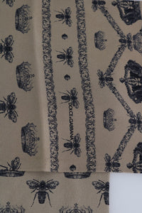 Beige Silk Crown Bee Print Scarf