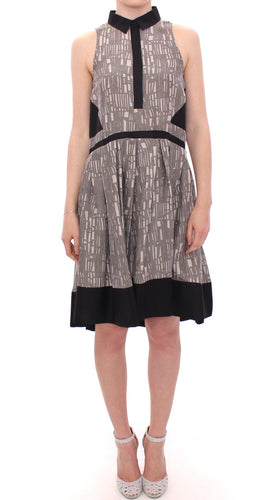Black Gray Silk A-Line Shift Dress