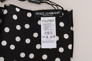 Black Silk Polka Dotted Scarf