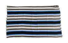 Load image into Gallery viewer, Blue White Striped Silk Scarf