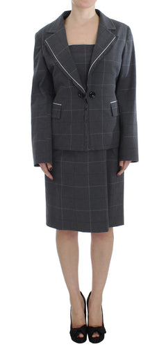 Gray Stretch Sheath Dress Suit Set