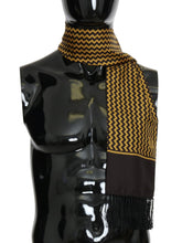 Load image into Gallery viewer, Brown Yellow Zigzag Pattern Silk Scarf