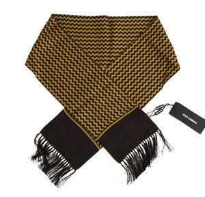Brown Yellow Zigzag Pattern Silk Scarf