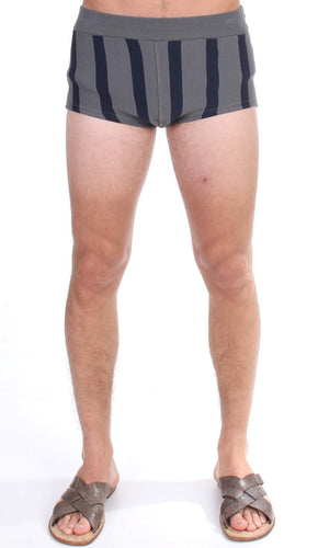 Gray Cotten Blend Logo Casual Short Shorts