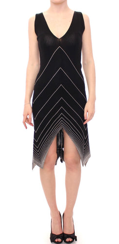 Black White Low V Neck Knitted Cocktail Dress