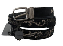 Load image into Gallery viewer, Black Cotton Royal Bee Embroidery Belt