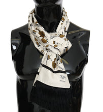 Load image into Gallery viewer, Beige Silk Gold Music Print Scarf