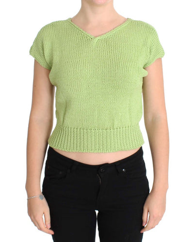 Green Cotton Blend Knitted Sweater