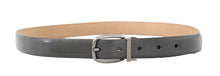 Load image into Gallery viewer, Gray Leather Silver Buckle Belt