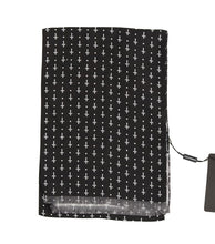 Load image into Gallery viewer, Black Silk White Cross Print Scarf