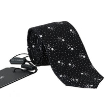 Load image into Gallery viewer, Black Silk Dotted Classic Tie