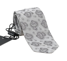 Load image into Gallery viewer, Gray Silk Paisley Print Classic Tie