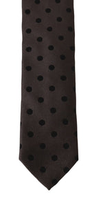 Brown Silk Black Polka Dot Classic Tie
