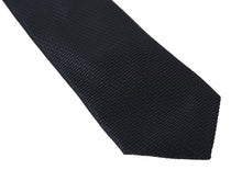 Load image into Gallery viewer, Black Silk Blue Pattern Classic Tie