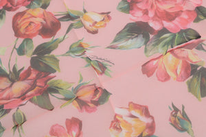 Pink Floral Roses Silk Scarf