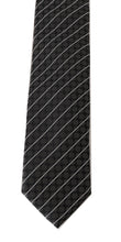 Load image into Gallery viewer, Black Silk Gray Dotted Striped Tie