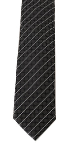 Black Silk Gray Dotted Striped Tie