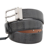 Load image into Gallery viewer, Gray Pattern Leather Silver Buckle Belt