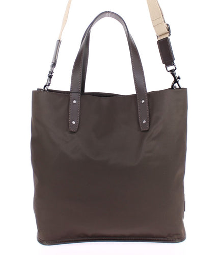 Brown nylon tote bag