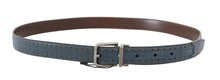 Load image into Gallery viewer, Blue Perforated Leather Gray Buckle Belt